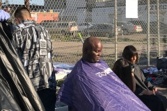 Cutting the homeless hair downtown San Diego