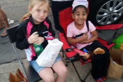 Aryana and little homeless girl Lauren enjoy our downtown San Diego homeless event.