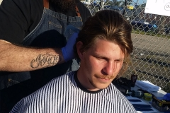 Homeless man Gordy getting a haircut at our special homeless event.
