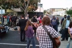 Dan speaking to San Diego's homeless on the streets.