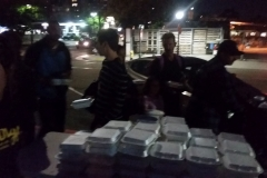 Preparing the night's food to pass out to feed San Diego's homeless.