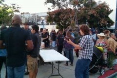 Jeffery getting ready to sing worship songs for the homeless in downtown San Diego