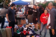 Getting organized with the donations for San Diego's homeless.