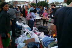 Look at all the clothing donations the Streets of Hope volunteers gathered for the night's event.