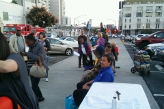 The homeless in San Diego lining up to have Tammy cut their hair for Thanksgiving. Thanks Tammy! You're amazing!