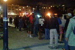 San Diego's homeless line up for food on Thanksgiving 2015.