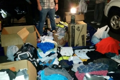 Clothing and other donations pile up for San Diego's homeless at our Thanksgiving 2015 event.