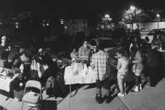 Hair cutting area and food station on the streets of San Diego feeding the homeless on Thanksgiving.