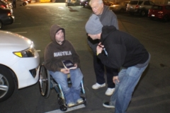 Joe and Mark talk to a homeless man on the streets of San Diego.