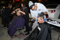 Giving a trim and haircut for the homeless this Monday night.