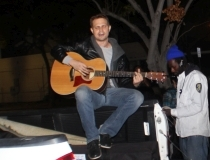 Chris played songs all night and really encouraged downtown's homeless.