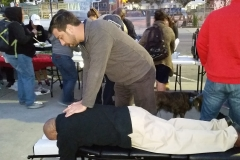 A homeless man in downtown San Diego on Easter sees Dr. Eric for an adjustment