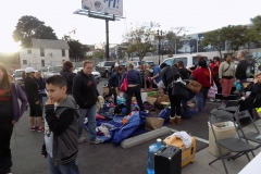Passing out donations to the homeless on Easter.