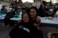 Tammy cuts another homeless women's hair in downtown San Diego