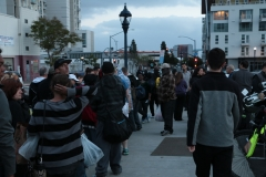 Lining up the homeless to serve them food in downtown San Diego for Easter.