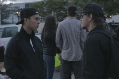 Carlos and a homeless man talk about life on the streets in downtown San Diego.