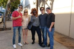 Joe, Kelsey, Dan and Parker with homeless woman Tammy who was cured of cancer!
