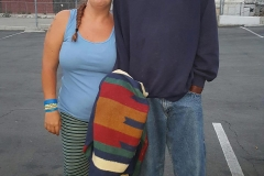 Homeless Lori and Roy after Lori gave him her blanket on the streets.
