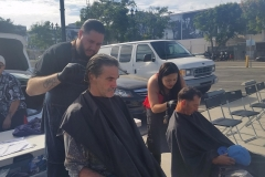Tammy and Eric cut two homeless men's hair in downtown San Diego.