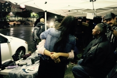 Homeless girl Angel gives Tammy a big hug after cutting her hair.