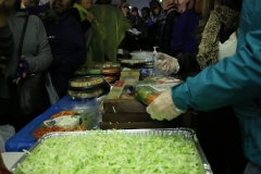 Preparing the Thanksgiving meal for the homeless downtown.