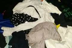 Some of the hundreds of clothing articles at the Streets of Hope homeless Christmas event.