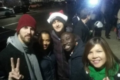 Joe, Keshia, Nate, Conrad and Emma at the Streets of Hope San Diego homeless Christmas event.