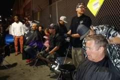 Cutting hair for the homeless in downtown San Diego