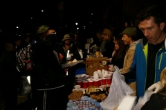 Feeding the homeles food line downtown San Diego at Christmas