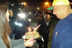 Our homeless friend David, who sleeps on the streets in downtown San Diego, gets a birthday cake.