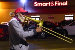 One of our homeless friend pulled out his trombone and played Christmas tunes while we served a meal.