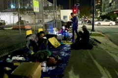 At the end of the night, our donations area is almost empty after handing out clothes to the homeless.