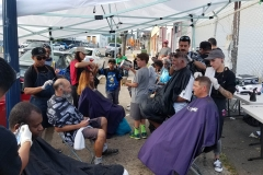 The Streets of Hope Homeless haircutting team at our special homeless event.
