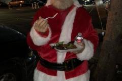 Even Santa ate on Christmas at our Christmas homeless event.