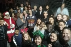 Just half of the volunteers gathered for a selfie after serving the homeless downtown San Diego on Christmas.