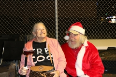 Diane and Santa hanging out on the streets at our homeless Christmas event.
