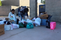Students dropping off donations for the homeless in San Diego