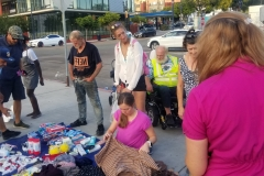 Jenn helps organize the many donations provided by Newport Pacific for San Diego's homeless
