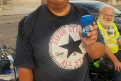Our homeless friend David appreciated his new deodorant.