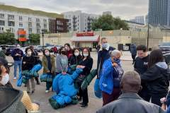 The homeless in downtown San Diego receiving tents and sleeping bags after haircuts, food and clothing