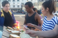 Making sandwiches for San Diego downtown homeless