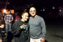 Homeless girl Marie thanks Paul for giving him a sweatshirt.