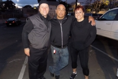 David, Paul and Jackie smile after a great day of serving the homeless on Easter.
