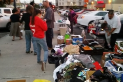People bringing clothing for San Diego's homeless.