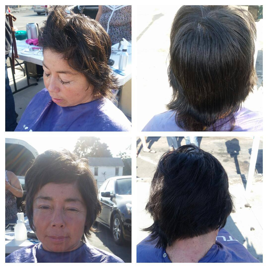 Homeless woman before and after hair photos.