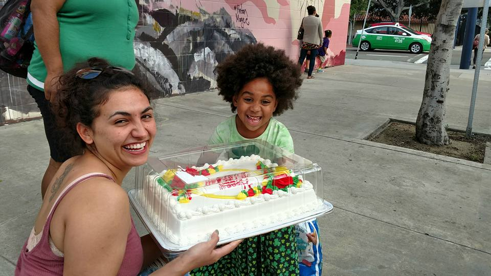 Little Homeless Girl Lauren Birthday Cake on the Streets